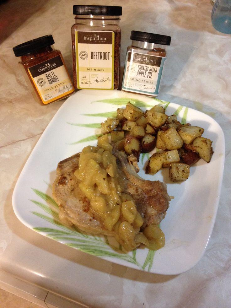 Pork chops with YIAH Ras el Hanout seasoning, sautéed apples with ...