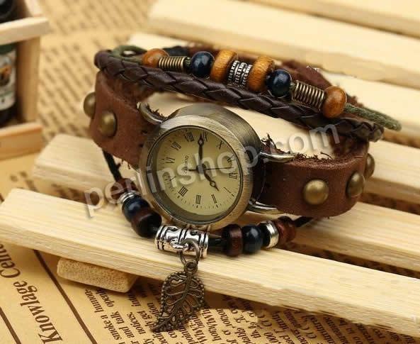 Armbanduhr Zifferblatt Holz ~ Armbanduhr, Kuhhaut, mit Zinklegierung Zifferblatt Wachsschnur Holz