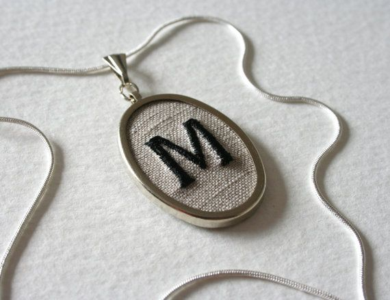 letter m personalized jewelry necklace hand embroidered With letter m jewelry