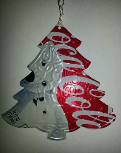Recycled coke can embossed christmas tree ornament handmade for Aluminum can decorations