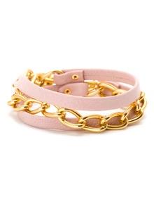 Gold Graham Chain & Light Pink Leather Wrap Bracelet by Gorjana at Gilt