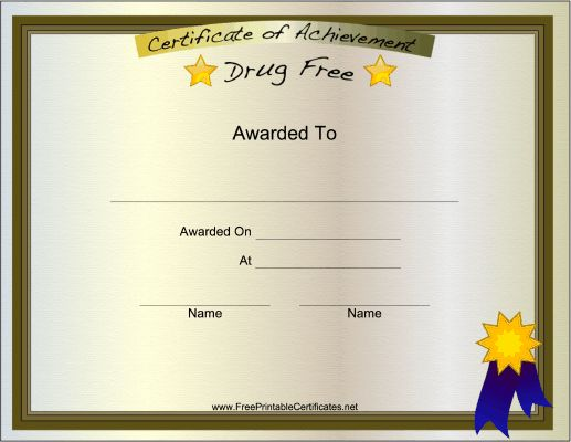 to someone who is proud to be drug-free. Ideal for recovery programs ...