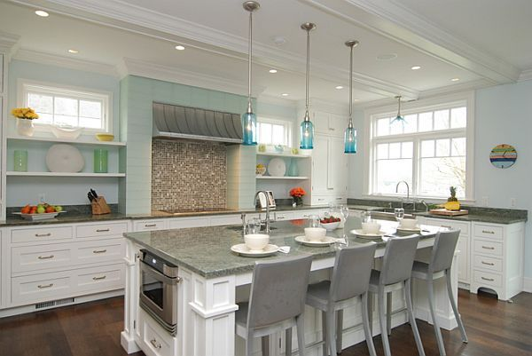 Turquoise light filled kitchen interior design - Turquoise and orange kitchen ...
