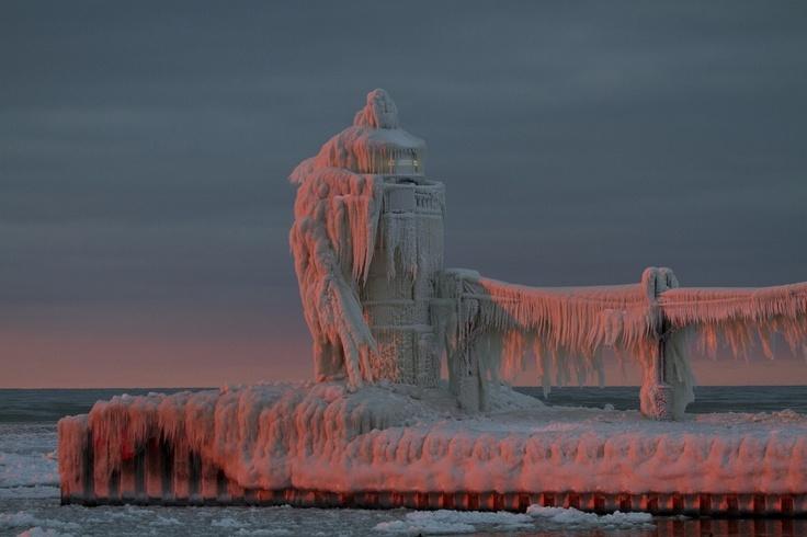 Frozen lighthouse, Lake Michigan