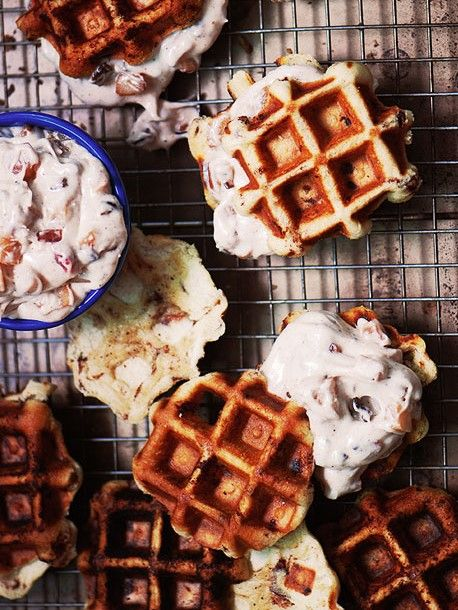 Cinnamon Roll Waffles with Bacon-Apple Frosting | Recipe