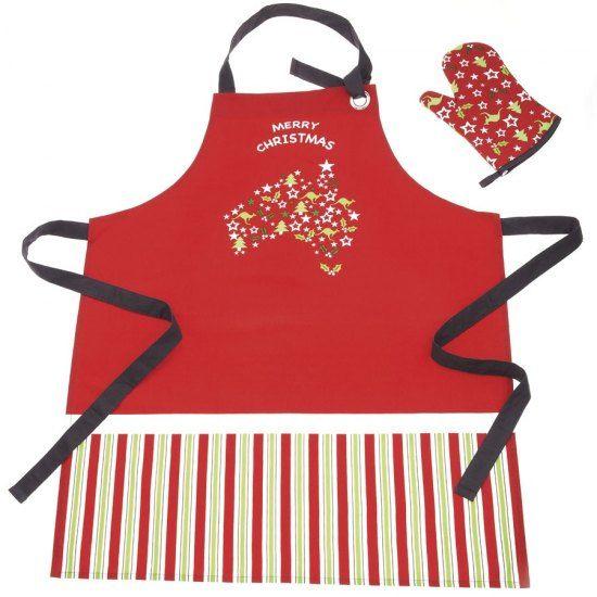 Christmas apron and oven glove set kangaroos and christmas