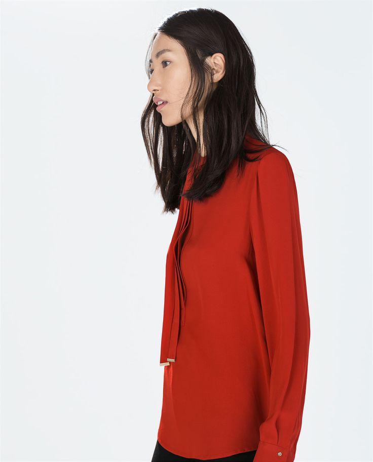 Zara bowed blouse