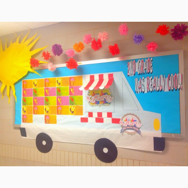End of year Bulletin Board. 2nd Grade Was Really Cool! Ice cream truck with students persuasive writing about why 2nd grade is the coolest!!