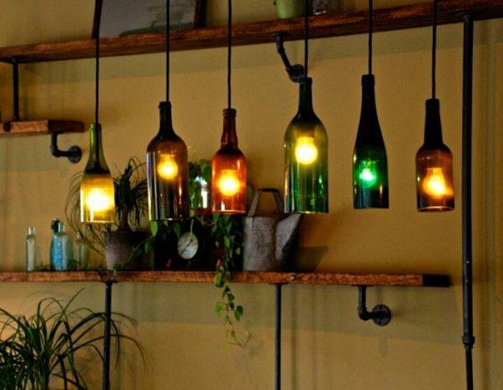 Wine bottle light fixture!  Exterior Inspiration  Pinterest