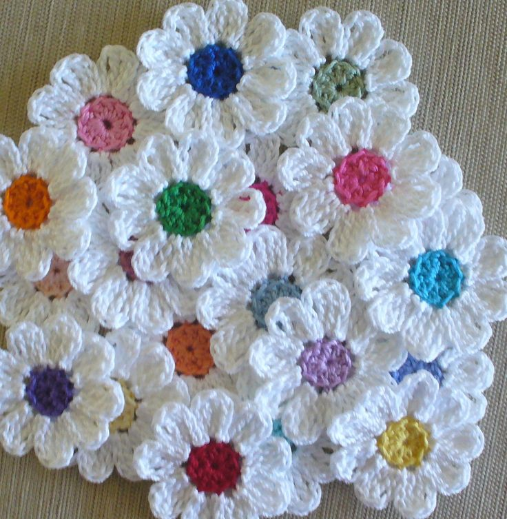 Crochet Iris Flower Pattern : Handmade Small Crochet Flowers, Appliques - set of 16, variety