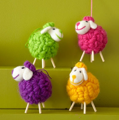 Colorful wooly sheep ornaments want kappa phi for Sheep christmas ornament craft