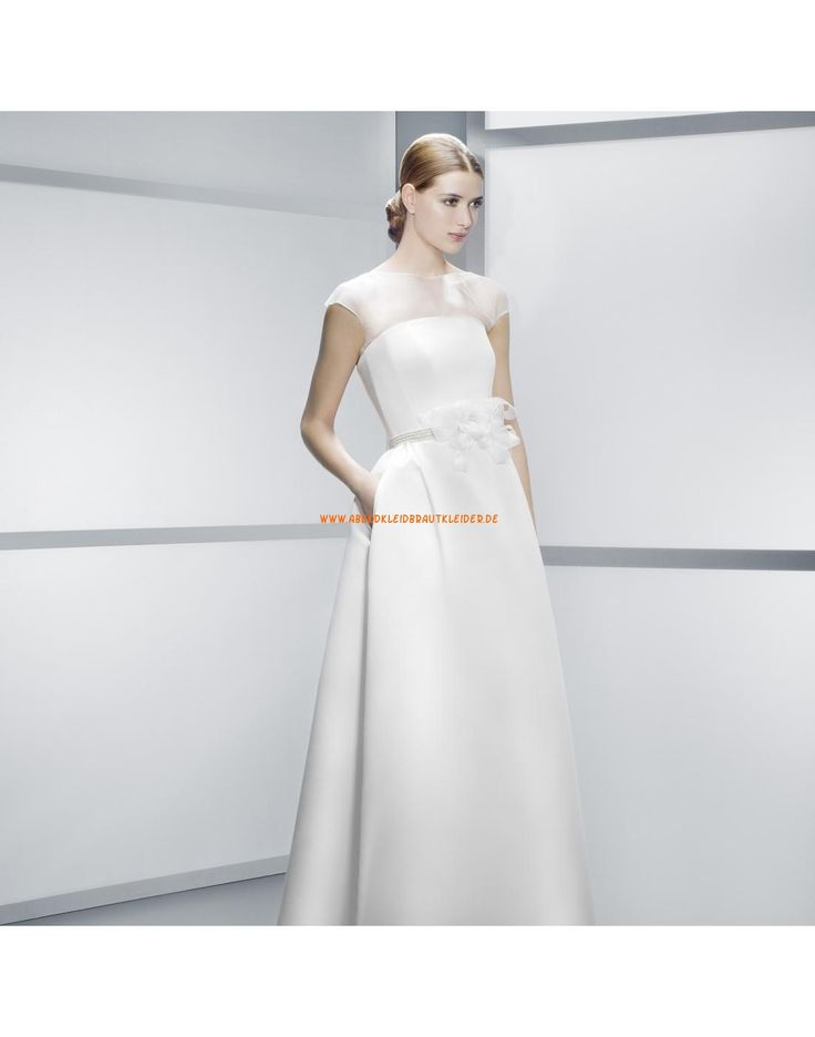 Moderne kurze Ärmel A-linie Hochzeitskleider aus Satin- Jesús Peiró