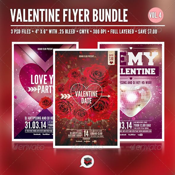 retro valentine flyer template