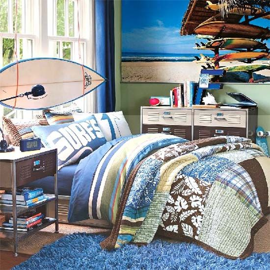 Boys beach themed bedroom boys bedrooms pinterest for Surfing bedroom designs