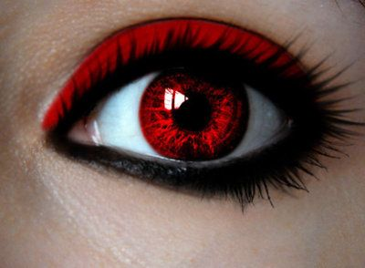 make-up, eyes, red, black, contacts | Red | Pinterest