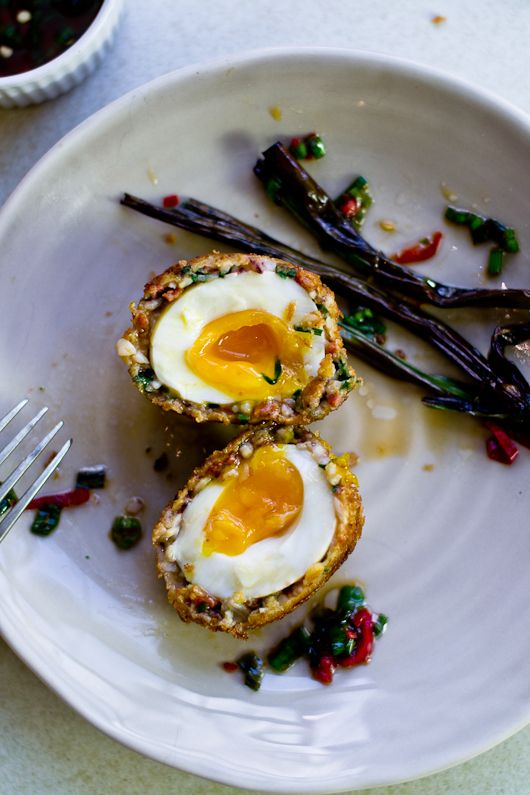 Squid and Chorizo Scotch Eggs