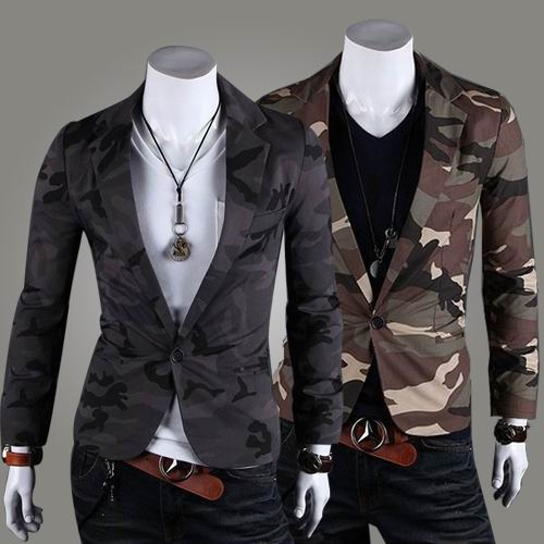 Go undercover with this camouflage blazer, available at Sneak Outfitters http://www.sneakoutfitters.com/Camouflage-Slim-Cut-Design-Blazer-p3143.html