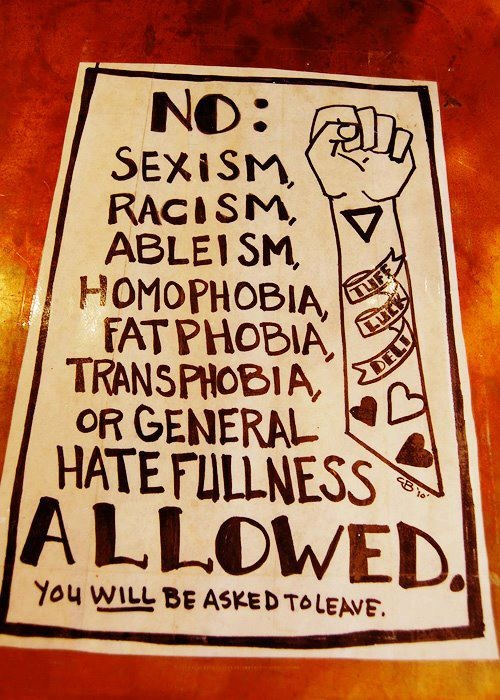 NO: Sexism, Racism, Ableism, homophobia, fatphobia, transphobia or general hatefulness allowed. You WILL be asked to leave. (Beside a raised fist on a tattooed arm)