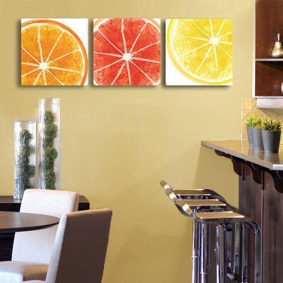 Set of 3 citrus design canvas wraps orange lemon for Kitchen artwork