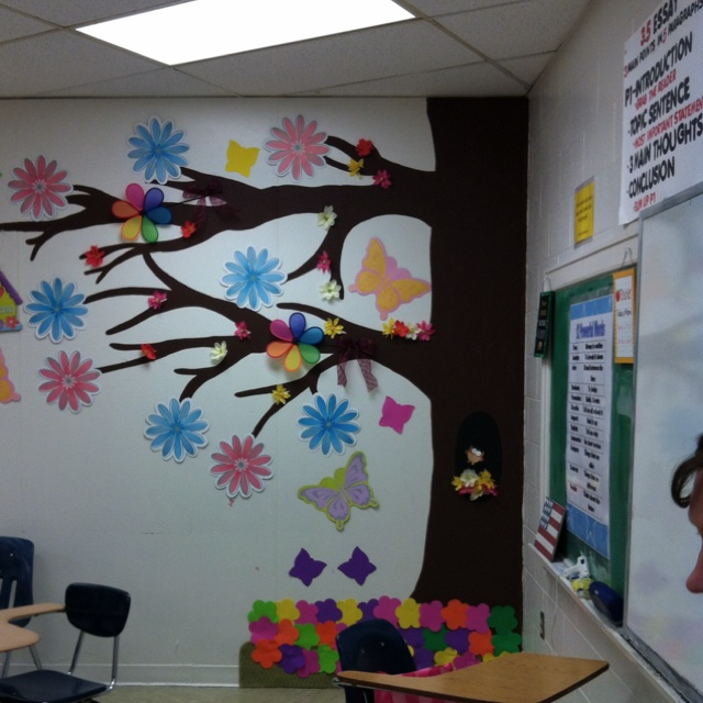 Tree in my classroom helps mix it up classroom tree for Classroom wall mural ideas