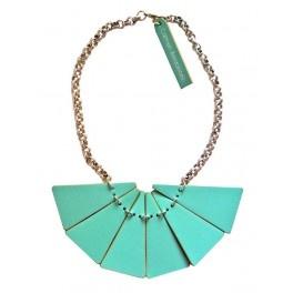 Collar triangles piel verde agua - Carmen Berdonces