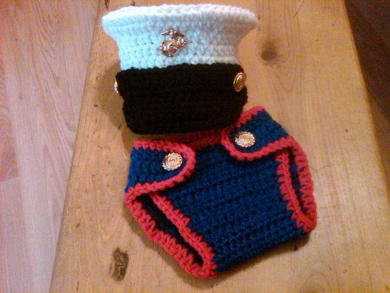 Crochet Baby Marine Hat Pattern : Crochet Marine Corps Dress Blues Hat and Diaper Cover Set