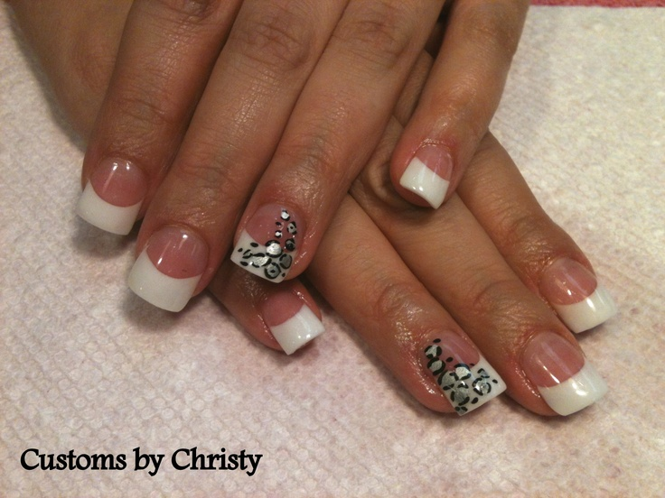 leopard print french tip full acrylic nails with forms, never tips