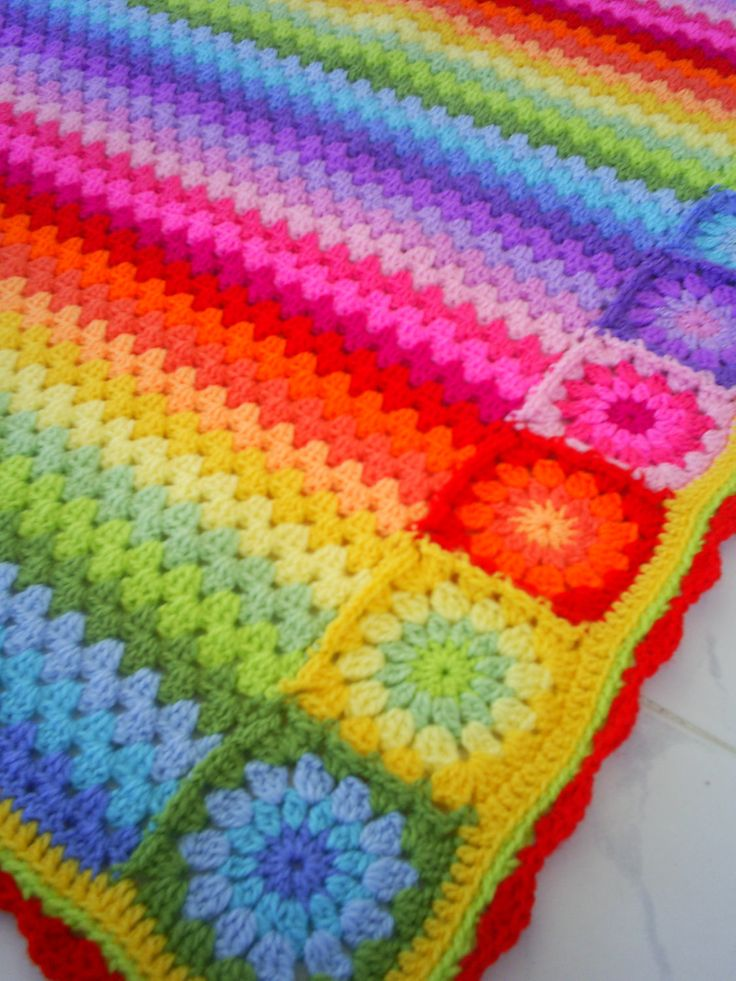 Crochet granny square/granny stripe combination  Oh, the glorious colors!