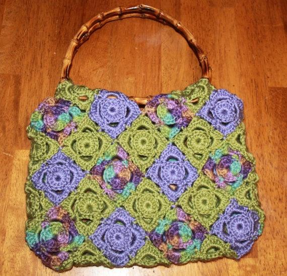 Crochet Bag Bamboo Handles Pattern : Beautiful Hand Crocheted Purse with Bamboo Handles - FREE ...