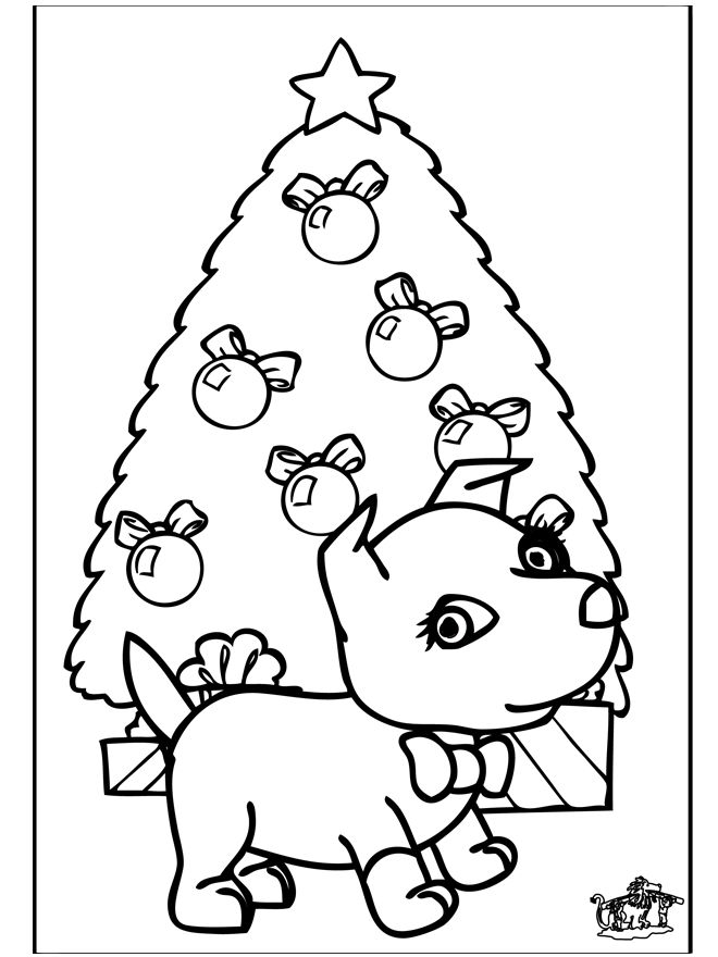 Christmas Tree Dog Coloring Pages