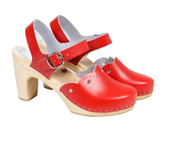 Milan High Swedish Clogs in Red