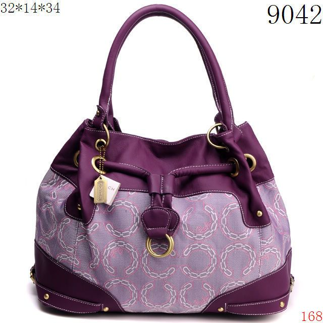Cheap Coach Handbag - Grey with Dark Purple Leather and Chain C Logo