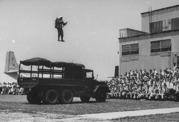 Bell engineer Harold Graham demonstrating the Rocket Belt at Ft. Bragg, 1961