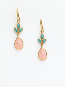 Turquoise & Peach Agate Marquise Earrings by Eddera at Gilt