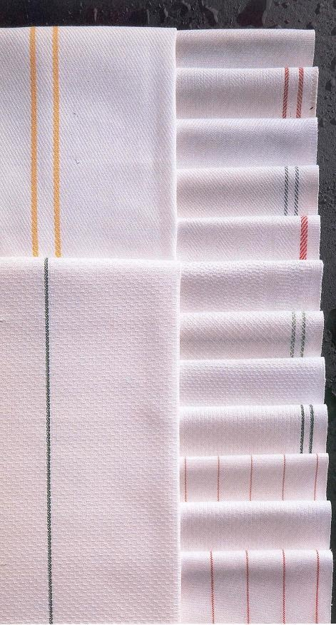 Herringbone Towels - White with Stripe (Only .45 Each) at bestbuyuniforms.com