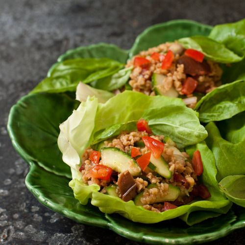 Thai vegetarian lettuce wraps with basil | recipes | Pinterest