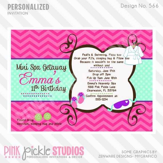 ... PARTY Mint & Pink INVITATION or Thank You by PinkPickleParties, $10.00