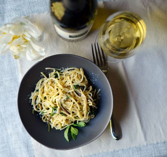 Spaghetti Pan-Fried with Ramps & Mint | Recipe