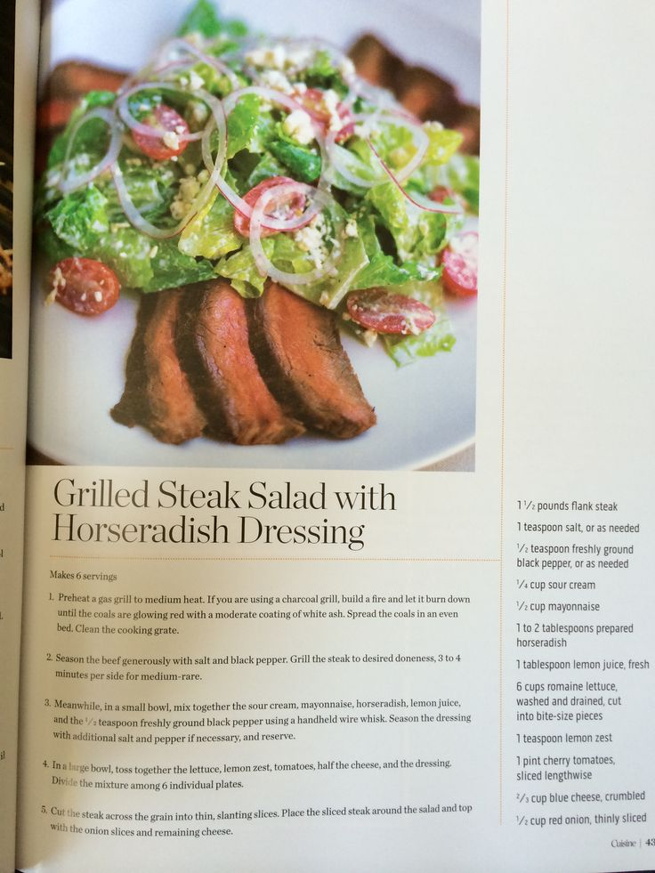 Grilled steak salad with horseradish dressing