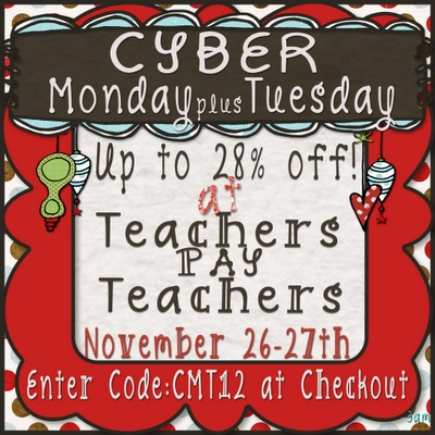 Today is the last day to shop the Cyber Monday + Tuesday Sale at Teachers Pay Teachers!!!! Don't forget to use the code for up to 28% off!!!!!!!!! Happy Shopping!!!!!!!