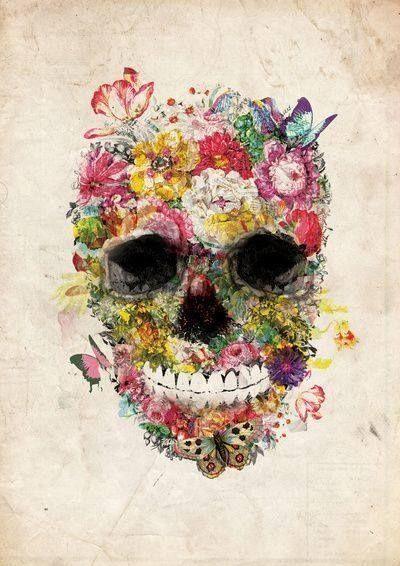 skull and flowers tumblr the trickster pinterest