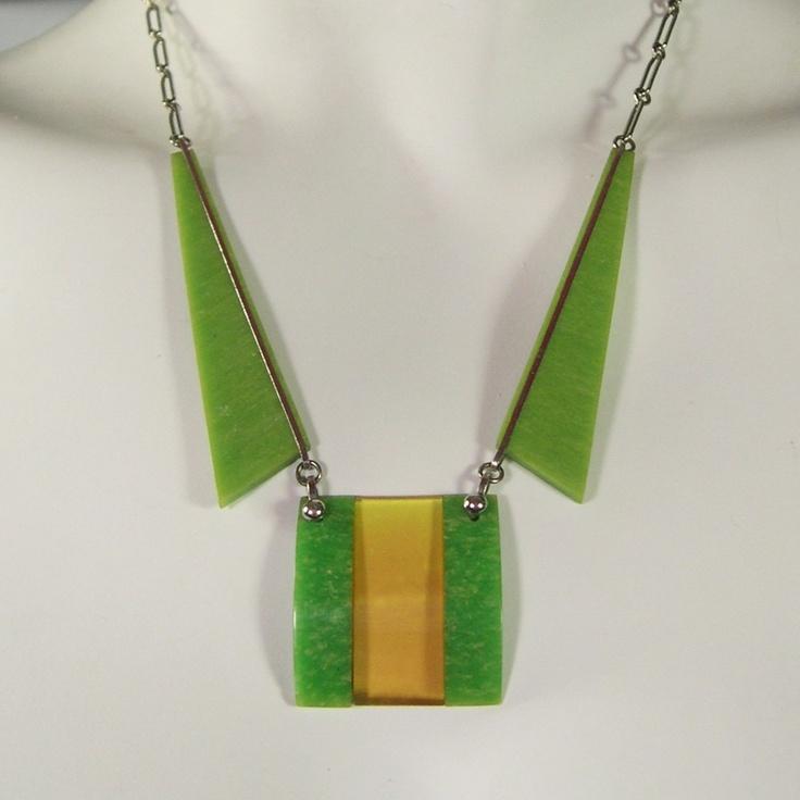 Vintage Jakob Bengel 1930s Green & Amber Art Deco Chrome & Bakelite Necklace