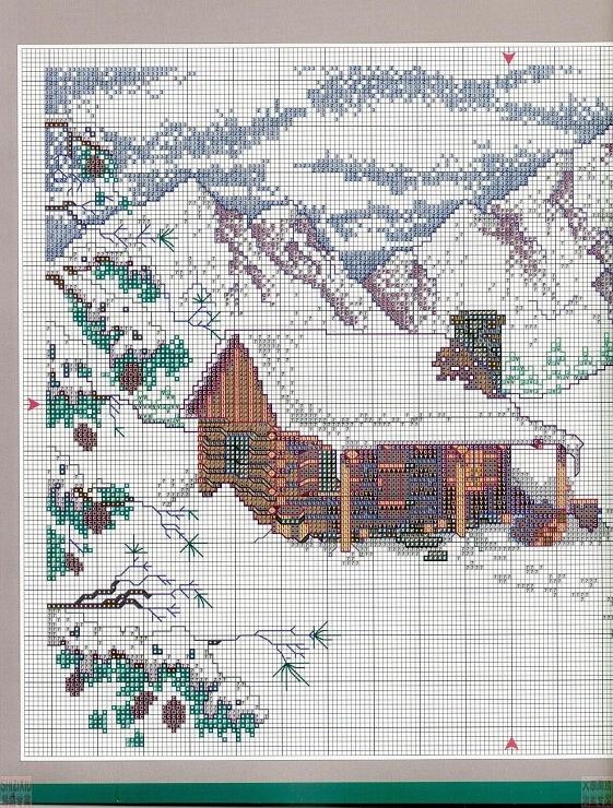 Зима в деревне вышивка крестом схема 609