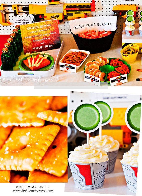 NERF Gun Inspired Foam Blaster Printable Birthday Party Dessert Table Decor by HelloMySweet