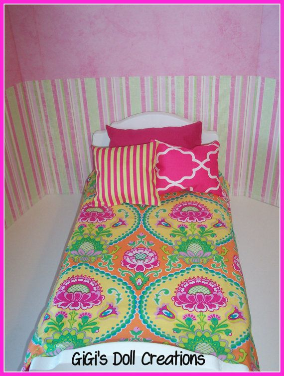 Pink and lime green bedding set for by gigisdollcreations on etsy 15
