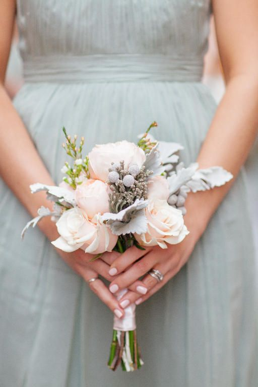 soft colored bridesmaid bouquet with frosted details by posy bouquet