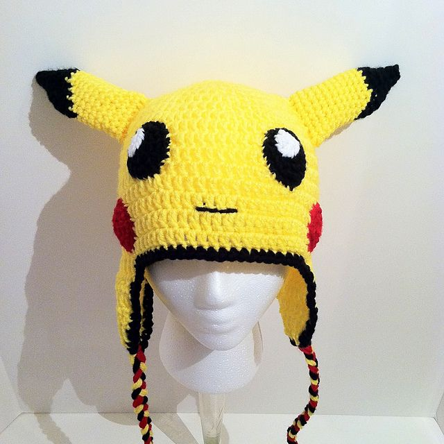 Knitted Pikachu Pattern : Ravelry: Pikachu Looking Earflap Hat pattern by Hooking Stitch for N-Crochet ...