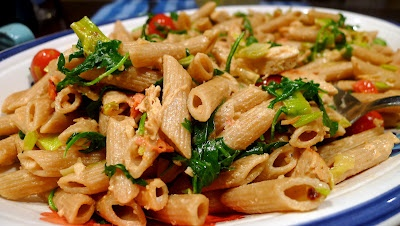 Goat Cheese and Arugula Pasta with Chicken