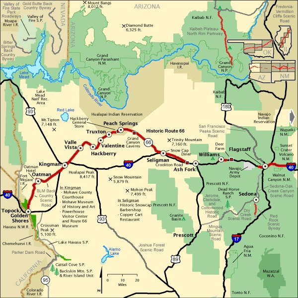 Map Of Route 66 In Western Arizona Route 66 Pinterest