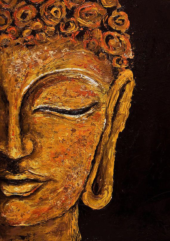 Hand painted oil buddha painting inner peace for Buddha mural paintings